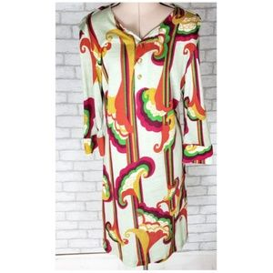 T-Bags USA Multicolor Abstract Floral Tunic Dress